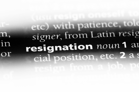 resignation word in a dictionary. resignation concept. Фото со стока - 107457796