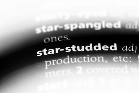 star studded word in a dictionary. star studded concept. Stock Photo