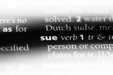 sue word in a dictionary. sue concept. Stock Photo
