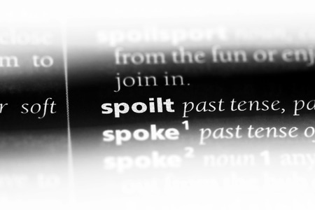 spoilt word in a dictionary. spoilt concept. Stock Photo
