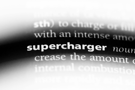 supercharger word in a dictionary. supercharger concept.
