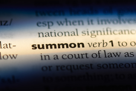 summon word in a dictionary. summon concept.