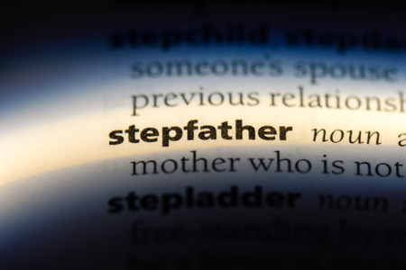 stepfather word in a dictionary. stepfather concept.