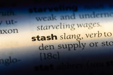 stash word in a dictionary. stash concept. Stock Photo