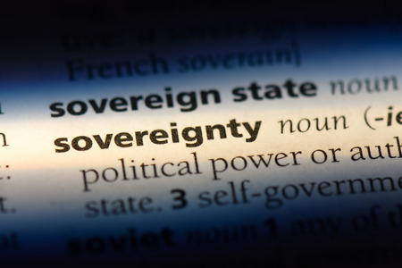 sovereignty word in a dictionary. sovereignty concept.