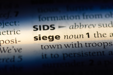 siege word in a dictionary. siege concept.
