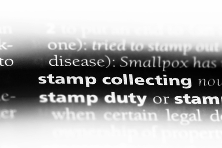 stamp collecting word in a dictionary. stamp collecting concept. 写真素材
