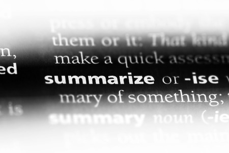 summarize word in a dictionary. summarize concept. Stok Fotoğraf