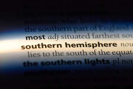 southern hemisphere word in a dictionary. southern hemisphere concept. Banco de Imagens