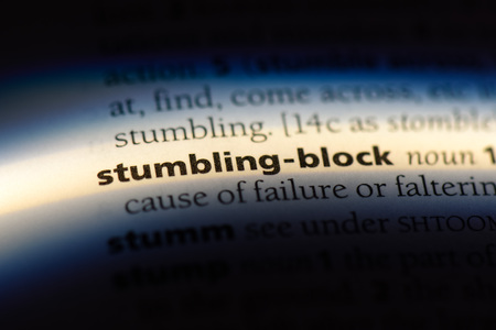 stumbling block word in a dictionary. stumbling block concept. Stock Photo