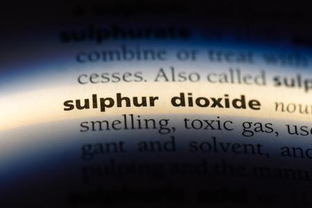 sulphur dioxide word in a dictionary. sulphur dioxide concept.