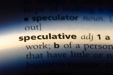 speculative word in a dictionary. speculative concept. Stock Photo