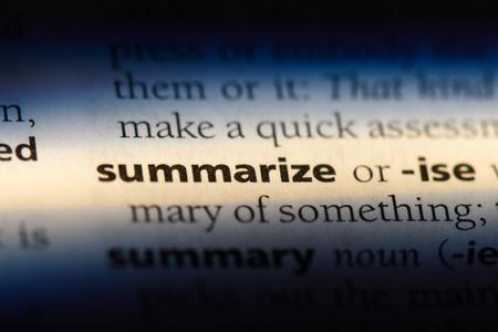 summarize word in a dictionary. summarize concept. Stock fotó - 107380022