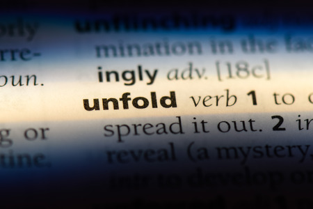 unfold word in a dictionary. unfold concept.