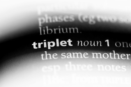 triplet word in a dictionary. triplet concept.