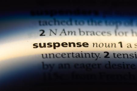 palabra de suspenso en un diccionario. concepto de suspenso.