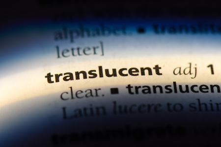 translucent word in a dictionary. translucent concept.