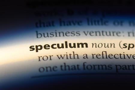 speculum word in a dictionary. speculum concept.