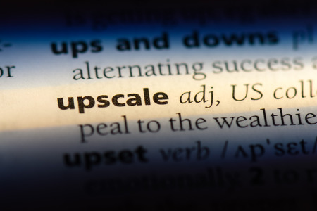upscale word in a dictionary. upscale concept. Stock Photo