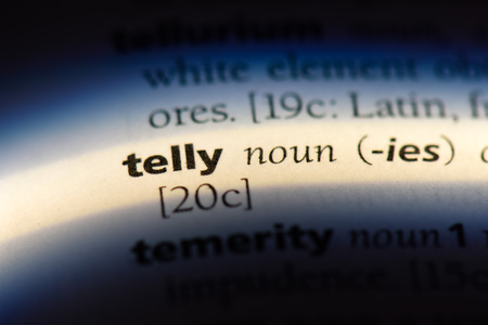 telly word in a dictionary. telly concept. Banco de Imagens - 107173148