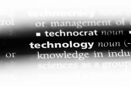technology word in a dictionary. technology concept. Stok Fotoğraf
