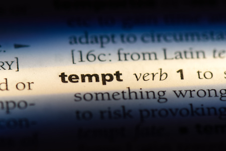 tempt word in a dictionary. tempt concept.