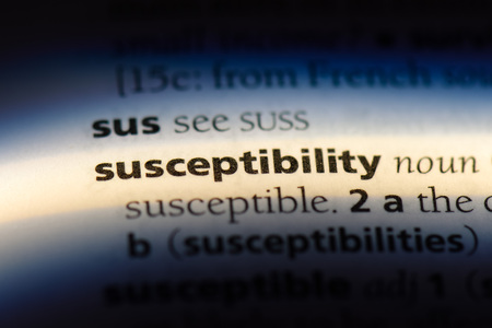 susceptibility word in a dictionary. susceptibility concept. Stock fotó
