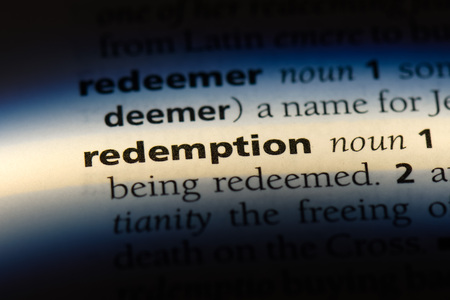 redemption word in a dictionary. redemption concept.