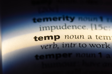 temp word in a dictionary. temp concept. Stock Photo