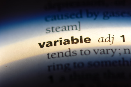variable word in a dictionary. variable concept.