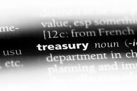 treasury word in a dictionary. treasury concept.