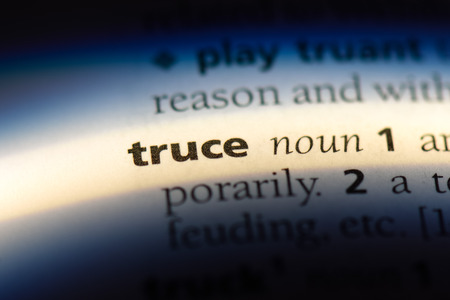 truce word in a dictionary. truce concept.