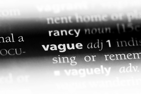 vague word in a dictionary. vague concept. Banco de Imagens - 106978279
