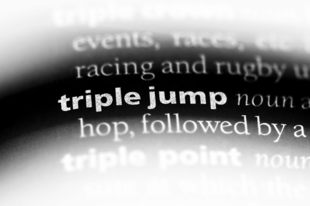 triple jump word in a dictionary. triple jump concept.