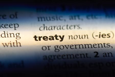 treaty word in a dictionary. treaty concept.