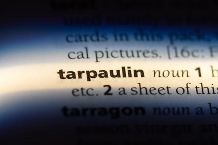 tarpaulin word in a dictionary. tarpaulin concept.