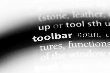 toolbar word in a dictionary. toolbar concept. Reklamní fotografie - 106976524