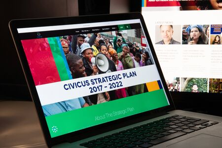 Milan, Italy - August 15, 2018: Civicus NGO website homepage. Civicus logo visible.