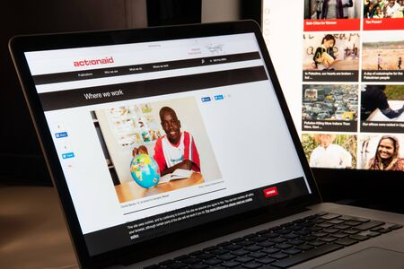 Milan, Italy - August 15, 2018: ActionAid NGO website homepage. ActionAid logo visible.