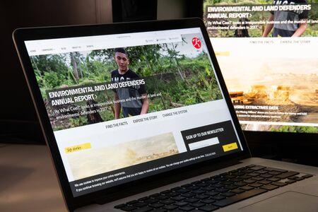 Milan, Italy - August 15, 2018: Global Witness NGO website homepage. Global Witness logo visible.