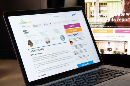 Milan, Italy - August 15, 2018: Asylum Access NGO website homepage. Asylum Access logo visible.