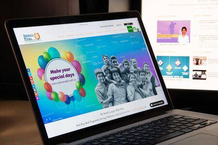 Milan, Italy - August 15, 2018: Akshaya Patra Foundation NGO website homepage. Akshaya Patra Foundation logo visible. Editorial