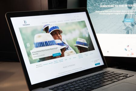 Milan, Italy - August 15, 2018: Interpeace NGO website homepage. Interpeace logo visible.