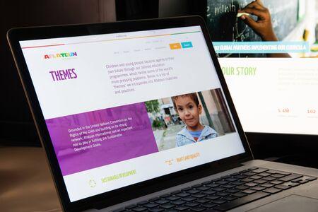Milan, Italy - August 15, 2018: Aflatoun NGO website homepage. Aflatoun logo visible. Editöryel
