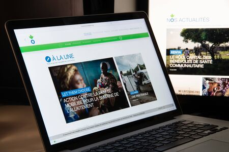 Milan, Italy - August 15, 2018: Action Contre la Faim NGO website homepage. Action Contre la Faim logo visible.