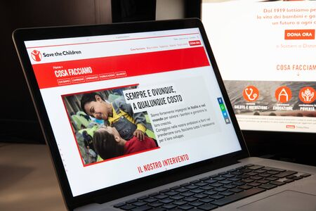 Milan, Italy - August 15, 2018: Save the Children NGO website homepage. Save the Children logo visible.