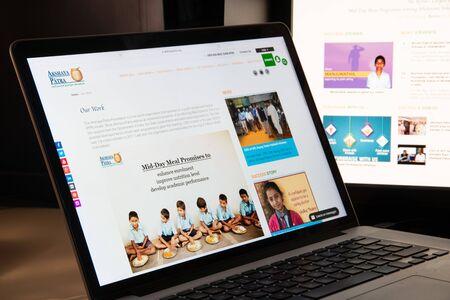 Milan, Italy - August 15, 2018: Akshaya Patra Foundation NGO website homepage. Akshaya Patra Foundation logo visible. Editöryel