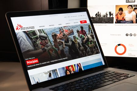 Milan, Italy - August 15, 2018: Doctors without borders NGO website homepage. Doctors without borders logo visible.