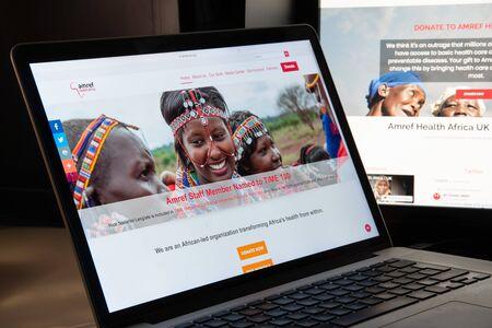 Milan, Italy - August 15, 2018: AMREF NGO website homepage. AMREF logo visible.