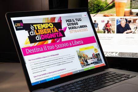 Milan, Italy - August 15, 2018: Libera NGO website homepage. Libera logo visible. Editöryel